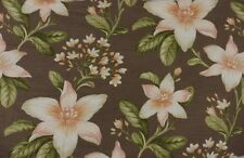 45cm Shabby Chic Brown Lily Floral Crowson Maluku Curtain Fabric Remnant Off Cut