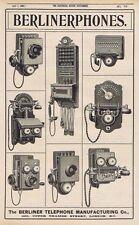 BERLINER TELEPHONE CO Styles of Phones  - Antique Engineering Advert 1904
