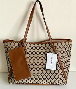 NEW! NINE WEST BEYZA KHAKI TOBACCO BROWN SHOPPER TOTE BAG PURSE w/ WRISTLET SALE