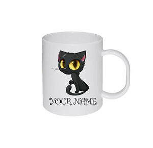 New Cartoon Cat Personalised Pet Cat Lovers Text Name Birthday Gift Mug Cup