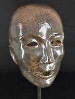 Jolie masque vintage France -fait main en grès émaillé - Signature à identifier