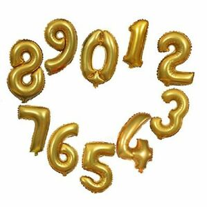 16 Inch Gold Foil Balloons 0-9 Arabic Number Design Birthday Party Decorations