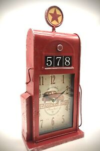 Vintage Petrol Pump Tin Plate Giftware Retro Gas Pump New Boxed Great Gift Clock
