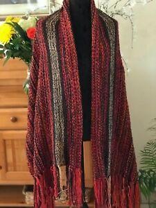 Women's wool knit shawl, Wrap scarf, loom knit Shawl,Handmade wool Ruana
