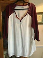 Arizona Jean Co Juniors Plus Size 3X Baseball T Shirt Top Red Crimson Ivory