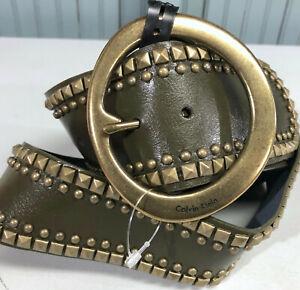 Vintage Calvin Klein Womens Wide Heavy Brass Buckle Leather  Fashion Belt