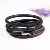 New Fashion Black Brown Smooth Surface Leather Cuff Bangle Magnet Clasp Bracelet