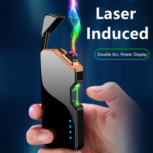 Dual Arc Windproof Electric Lighter Plasma Flameless Cigarette USB Rechargeable