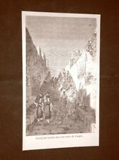 Incisione del 1865 Lavori di scavo in un vicolo di Pompei