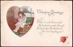 VALENTINE GREETING Poem Verse Vintage Postcard Girl Knitting Am I Tempting You?