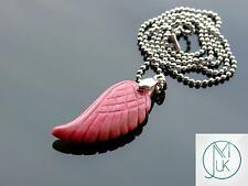 Rhodonite Gemstone Angel Wing Pendant Necklace Natural Chakra Healing Stone