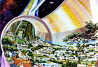 "1970's NASA Space Settlement Torus Cutaway View Art Print 13"" x 19"" Reprint"
