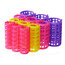 12Pcs Woman Home DIY Hair Styling Salon Pink Plastic Roller Curlers Clips Tools