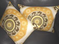 Throw pillow covers Designer fabric printed suzani design Custom new PAIR set #2