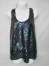 NEW Ladies M Guess Sexy Sequin Racer Back Tank Top Club Event Teal Blue Purple