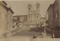 Italia Roma Piazza Di Spagna Foto Vintage Albumina Ca 1880