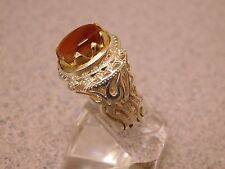 HAND MADE COSTUME CARVE CUT MEN'S SILVER RING WITH BEAUTIFUL HONEY YEMEN AQEEQ