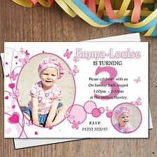 10 Personalised Girls Butterfly Birthday Party PHOTO Invitations N170 - ANY AGE