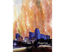 Watercolor painting of downtown Raleigh, NC.  Digital print.  Watercolor Raleigh