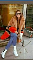 BNWT! InWear Gavi Colour-block Camel Caramel Orange Black Faux Fur Teddy Coat