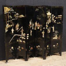 Paravento laccato mobile separè cineseria chinoiserie 6 pannelli stile antico