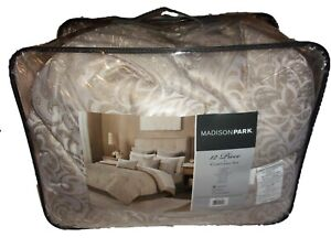 New Madison Park Queen Size Comforter Set Bed in A Bag 12 Pc Beige Tan w/Gold &