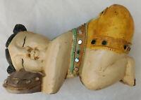 Vintage oriental wooden figurine chunky ornament far eastern painted wood