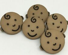 5 NOVELTY BABY FACE TAN BUTTONS FOR SEWING KNITTING CRAFT AND SCRAP BOOKING