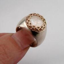 Hadar Designer 9k Rose Gold Sterling Silver MOP Pearl Ring 6.5, 7 Handmade (SPy