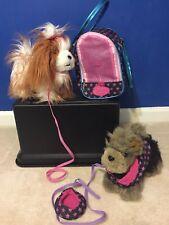 Pucci Pups Toy Pet Carrier Handbag W 2 Plush Puppy 2 leash, clothes, & bowl lot