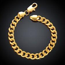 18k Yellow Gold Bracelet Women's Elegant Flex Link Chain + Gift Package D637D