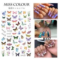 🦋 Butterfly Flower Nail Sticker Waterproof Nail Art Design Rainbow 🌈 Butterfly