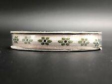 "NEW The Ribbon Boutique, Ivory & Green Flower Grosgrain Ribbon - 3/8"""