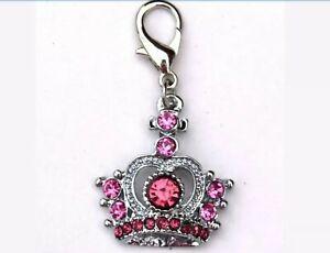 Pink Crown Dog Charm for Collar Keychain Bag Rhinestone Sparkly Diamante Colour