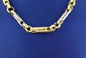 """Handmade 14k Two-Tone Gold Fancy Men's Chain Necklace, 26"""", 31.2gm, S104143"""