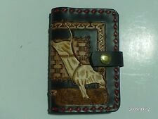 HAND CARVED LEATHER BUCKING BULL BUCK STITCH NOTE BOOK COVER AW LEATHER GOODS