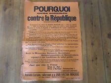 AFFICHE LIGUE ACTION FRANCAISE LORRAINE POURQUOI CONTRE REPUBLIQUE 1930 ROUGE