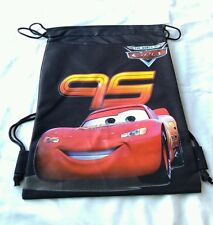 Black Disney Pixar Cars McQueen Childs Drawstring Backpack Sling Tote Gym Bag 🎒