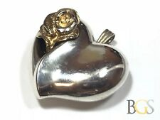 Beautiful Ladies Sterling Silver Rose/Heart Necklace Pendant - GORHAM - Wow!
