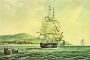 Vintage 1950's Lithograph THE LORD LOWTHER Clipper Ship Leaving Port 1828