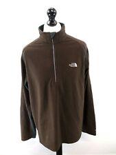 NORTH FACE Mens Jumper Sweater XL Brown Grey Polyester 1/2 Zip Fleece