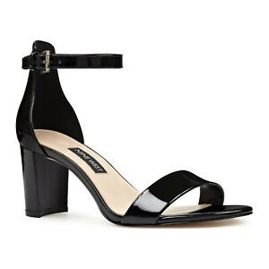 "NWOB NINE WEST ""PRUCE"" BLACK PATENT LEATHER BLOCK HEELS"