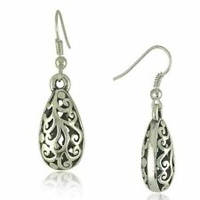 Vintage Tibet silver carved Tibetan silver drop earrings for women perspective