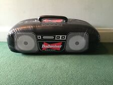 "VINTAGE LARGE BUDWEISER BLOW UP HANG UP BOOM BOX STEREO 35"" LONG HOLDS AIR WELL"