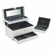 Boutique Large White Cantilever Jewellery Box with Travel Box