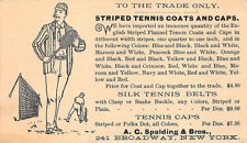 New York Ny A. C. Spalding Bros. Striped Tennis Coats & Caps 1890's Postcard