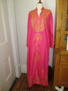 pink gold embroidered kaftan kurta full length  cotton  never worn Bahrain