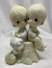 1976 Precious Moments Love One Another Boy & Girl on Stump Basket E-1376 Cross