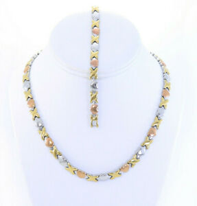 """Hugs and Kisses Necklace Bracelet Set Stampato Stainless Steel 3 Tone 18"""""""