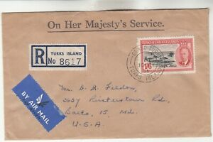 Turks & Caicos Islands Registered Airmail Cover